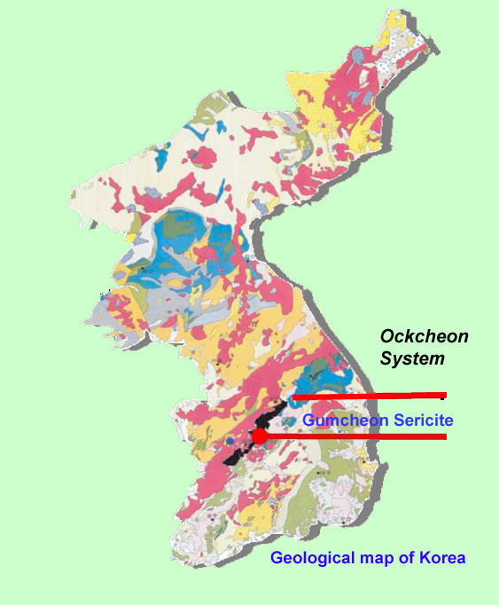 Geographical location of Ockcheon Sericite Deposits in South Korea